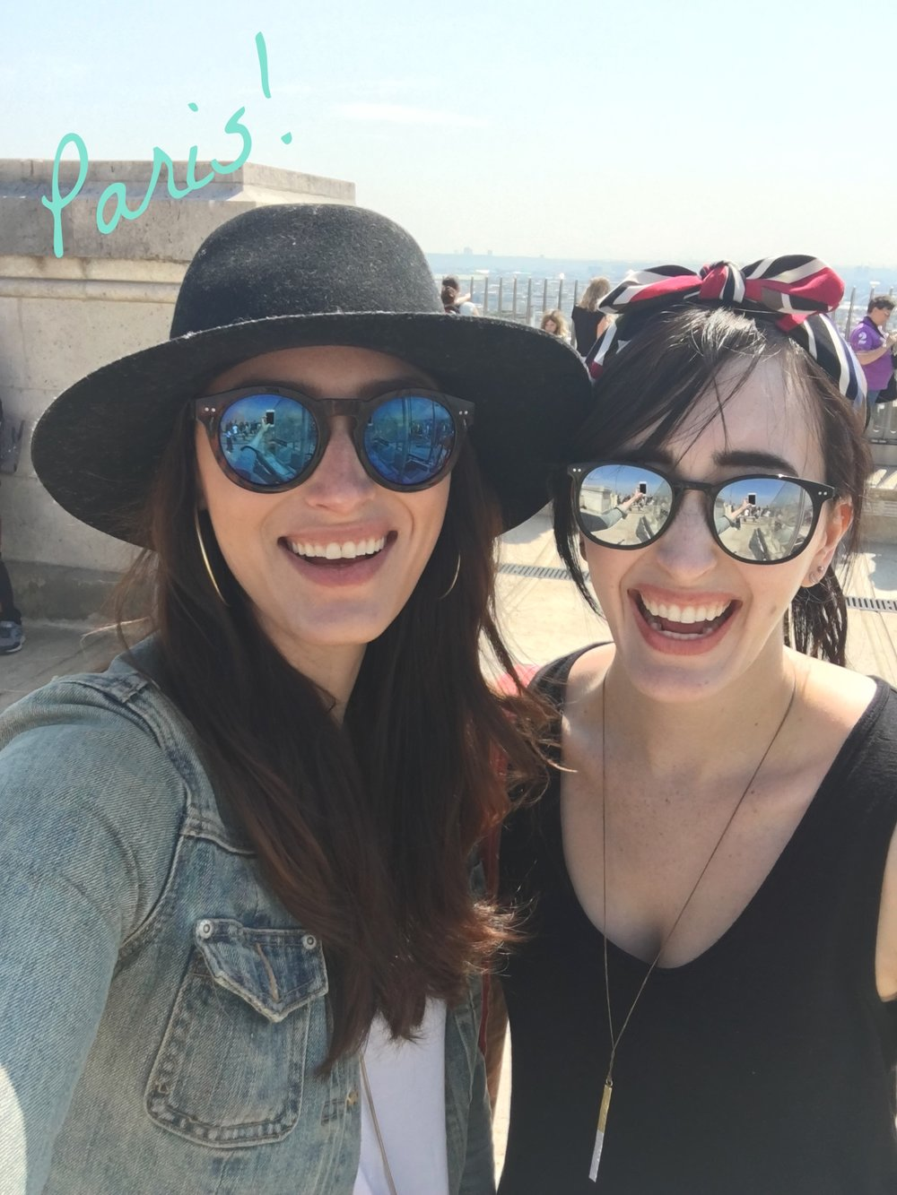 Em and Kate- Two Being Healthy - On top of the arch de triumph - Paris